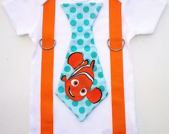 Nemo Inspired T Shirt with Suspenders  Sizes 0-3mo, 3-6mo, 6-12mo, 18 mo, 24mo, 2t, 3t, 4t, 5/6