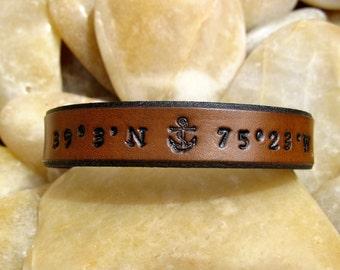 Mens custom leather Bracelet Cuff - Latitude & Longitude GPS Coordinates with Anchor - Brown - Mens Womens Kids - Sarah's Artistry