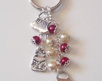 Handbag Lover Keyring - Red Beaded Charm Keychain