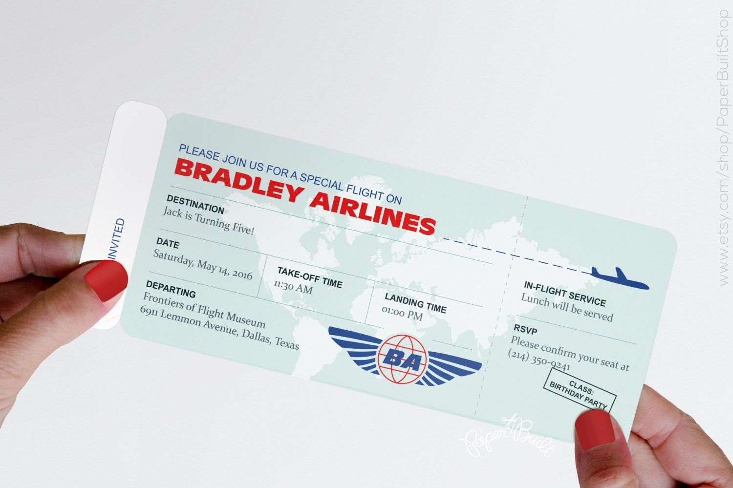 Modern airplane birthday party airline ticket invitation zoom yadclub