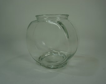 "Fish Tank, Glass Fish Bowl or Vase for Air Plant, Plant Terrarium, Vintage Clear Glass Fish Bowl 5 1/2"" H Free Priority Ship"