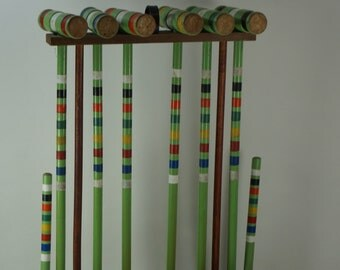 CROQUET Set, 6 Player Vintage Wooden Croquet Set. Turquoise Striped Mallets & Balls -NO WICKETS -  Free Ship