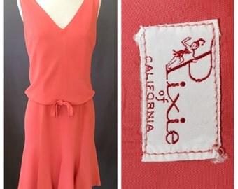 Vintage 1960s Coral Rayon Drop Waist Dress | Pixie of California | M