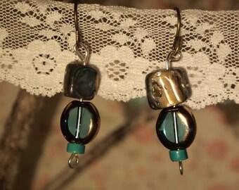 Blue glass bead with sea shells earrings
