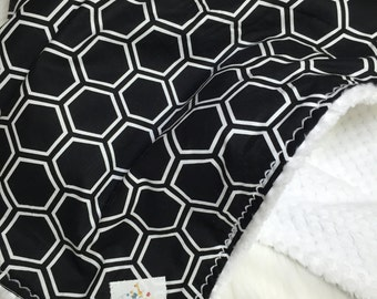 Black Baby Bedding - Black and White - Baby Bedding - Honeycomb Shapes
