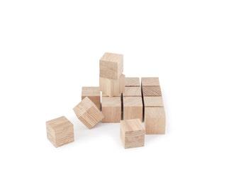 Cubes bois DIY - matériau naturel bricolage - lot de 16 blocs brut en bois de chêne