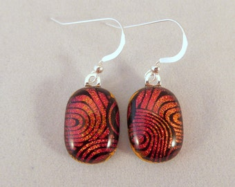 Red and Black Dichroic Fused Glass Dangle Earrings, Fused Glass, Fused Glass Earrings, Glass Earrings, Dichroic, Dangle, Red and Black