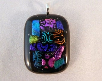 Dichroic Fused Glass Pendant, Multi Colored, Fused Glass, Fused Glass Pendant, Glass Pendant, Dichroic Pendant, Necklace Pendant