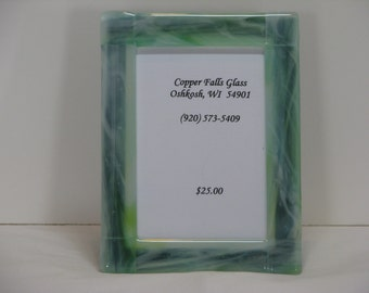 Blue/Green 5x7 Fused Glass Picture Frame