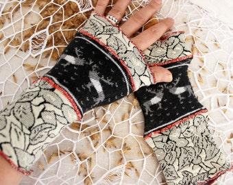Black white gloves, Black arm warmers, reindeer gloves, black Fingerless Gloves, women's gifts, Black women Gloves, women's Christmas gift