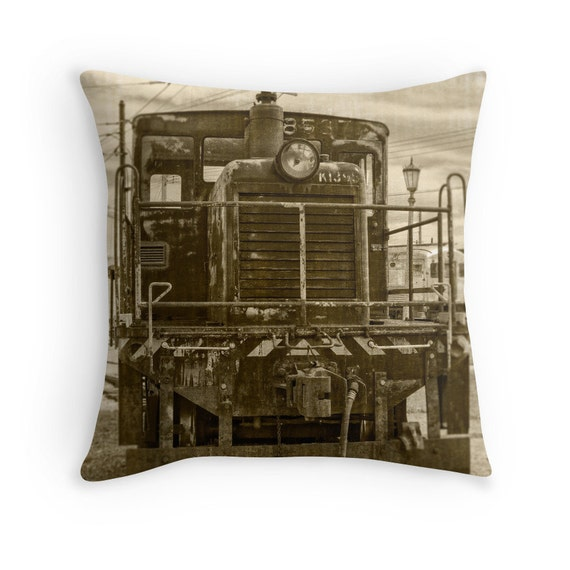 Vintage Army Train Pillow Cover Lo otive Man Cave