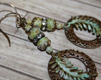 Verdigris earrings, Vintaj jewelry, Artisan jewelry, Patina jewelry, Green earrings