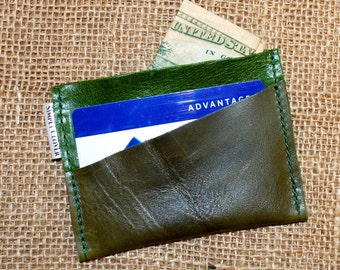Power of the Purse Card Holder, Green Leather Credit Card Holder, Green Leather Wallet, Business Card Case