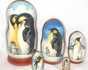 Deluxe Russian Penguin Nesting Dolls