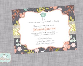 Tribal Girl Bird Baby Shower invitations