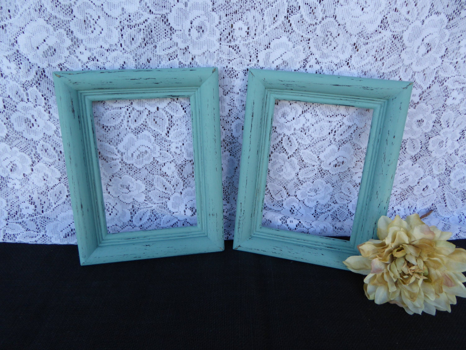 2 Hand Painted Open Wood 5 X 7 Frames Distressed Beach Blue