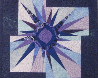 Art Quilt Wonky Purple Blue Star, Wonky Star Wall Quilt, Star Wall Hanging