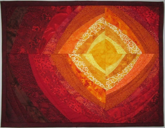 Art Quilt Sun Heat Waves 2, Quilted Wall Hanging