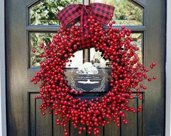 Christmas Wreath - Berry Wreath - Holiday Wreath - Front Door Wreath - Welcome Wreath - Wreath - Berry - Holiday Decor - Christmas Decor