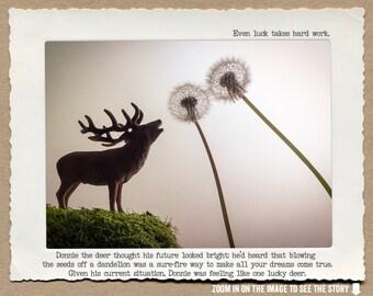 8x10 Deer and Dandelion Wall Art • Humorous Print • Animal Tales Fable Print •  Motivational Print • Lucky Home Decor • Woodland Home Decor