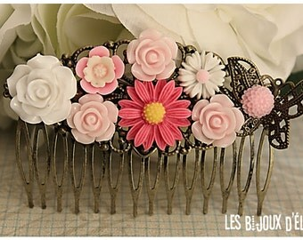 Pink and White Flower Hair Comb Wedding Cimb Bridal Comb Bridesmaid Comb Art Nouveau Style (HC236