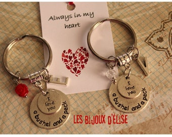 I Love You a Bushel and a Peck Keychain Personalized Motivational Keychain Red Rose Bag Dangle Feng Shui