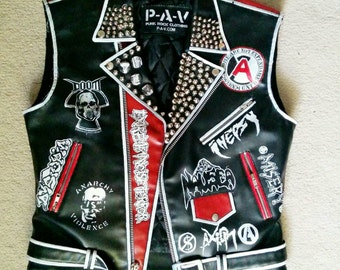 punk leather vest, crust punk vest, crust punk studded leather jacket, studded jacket, studded vest, men's punk vest, faux-leather, vegan