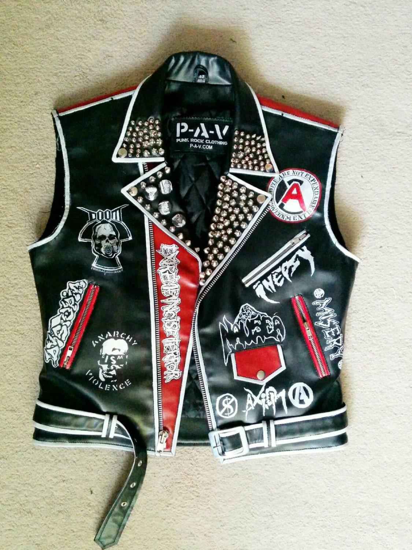 Leather jacket punk - Punk Leather Vest Crust Punk Vest Crust Punk Studded Leather Jacket Studded Jacket