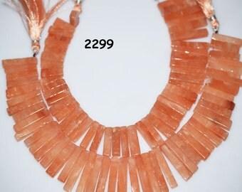 4 inch Strand bohemian style Australian Peach Aventurine Stick Slice Beads 15 to 35 mm- Peach Aventurine Sold in Wholesale Price (2299)