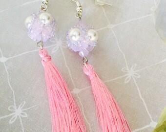 Swarovski crystal pearl and tassel earrings