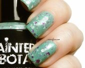 Gargle Blaster - Mint green with fuschia, silver and gunmetal glitter in multiple sizes nail polish by Painted Sabotage