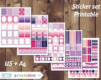Printable planner stickers Erin Condren Printable Stickers, Damask printable stickers, Monthly set - INSTANT DOWNLOAD  360
