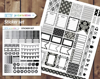 Black and white Printable planner stickers Erin Condren Printable Stickers, damask printable stickers, damask,Monthly set -  361