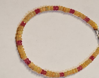 26.06ctw African Opal, Ruby 3-5mm and Sterling Silver Bead Bracelet 8 inch