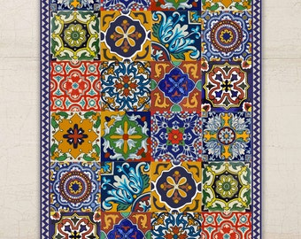 Floor Vinyl Rug Mexican Talavera Style By Bleucoin On Etsy