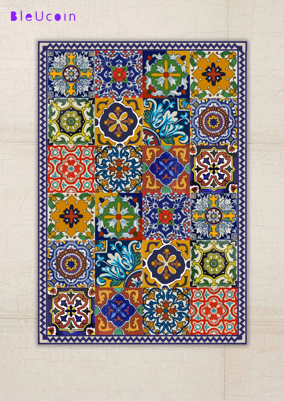 floor vinyl rug mexican talavera style. Black Bedroom Furniture Sets. Home Design Ideas
