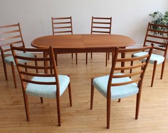 Mid Century Swedish Refinished Teak Dining Set