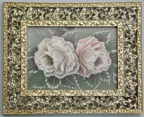 Framed Double Textured Painted Roses