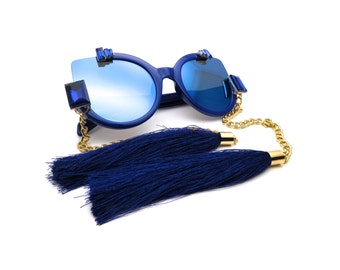 Abstract Sunglasses with Rhinestones and Satin Tassels - CHINE Blue