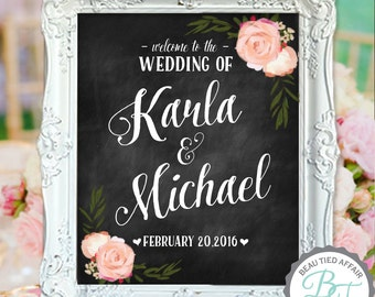 Welcome to the Wedding of • Custom Wedding Chalkboard Sign with Names and Wedding Date •