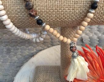 Mala inspired necklace w/ recycled silk sari tassle