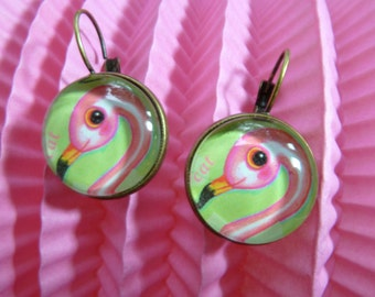 Pink flamingo retro earrings, antique bronze color.