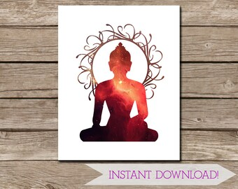 Red Galaxy Buddha Wall Art - 11x14 inches - Printable Art - INSTANT DIGITAL DOWNLOAD - Galaxy Art - Religious - Buddhism
