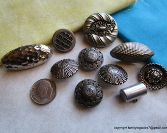 0053 – TEN Cool White Metal All Different Vintage Buttons, 1 Backmarked Germany
