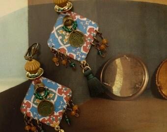 Eastern tribal earrings - gypsy - bohemian - chic hippie - earrings marocco - hamsa - fatma - nomadic earrings