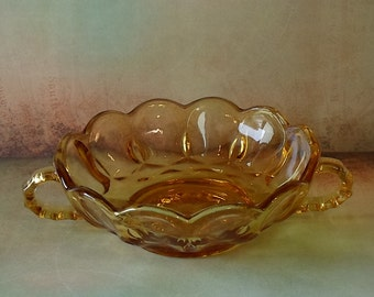 Vintage Anchor Hocking Fairfield Amber Nappy Glass Two Handled Bowl