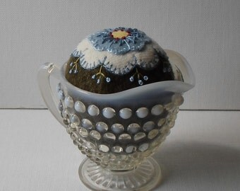 Handmade Pincushion Felted Wool Blue & White Blossom in Opalescent Hobnail Creamer