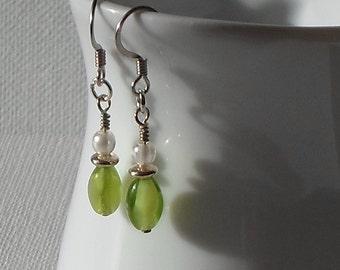 Sale - Hand Made Silver Tone Earrings Peridot Green & Faux Pearl Beads