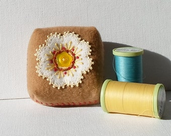 Handmade Pincushion Felted Wool White & Tan Floral Mini Cushion