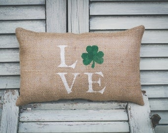Love - Shamrock, Four Leaf Clover, Irish Decorative Pillow Decor Pillow Saint Patrick's Day Pillow St. Paddy's Day home decor 15x10 pillows
